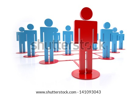 Concept of group leader in a hierarchy - stock photo