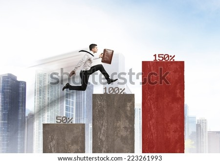 Concept of growing business with runner businessman - stock photo