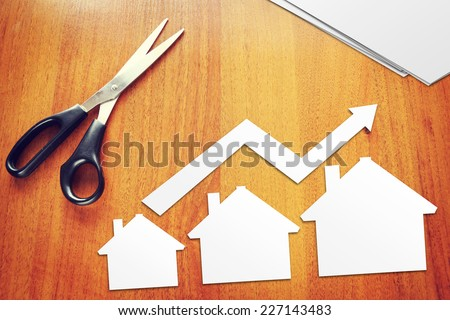 Concept of growth in sales of real estate - stock photo