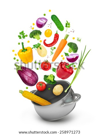 Concept of healthy eating. Fall vegetables in a pot on a white background. - stock photo