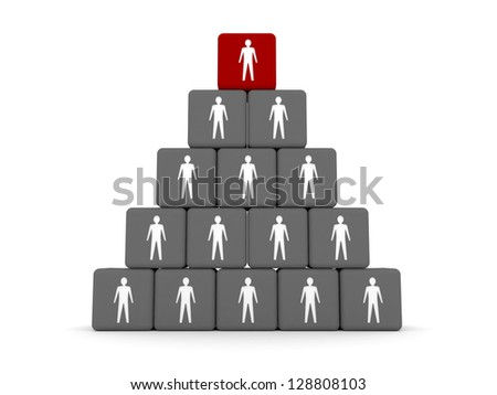 Concept of hierarchy. Leader at the top. 3D illustration - stock photo