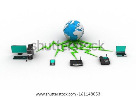 Concept of home network - stock photo