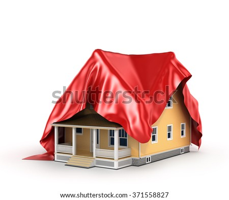 Concept of house. Red cloth covered on the house. - stock photo