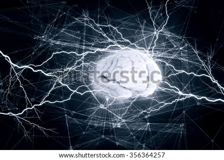 Concept of human intelligence with human brain on blue digital background - stock photo