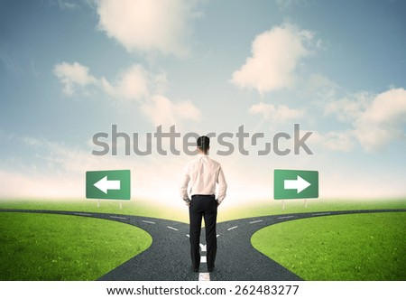 Concept of important choices of a businessman - stock photo