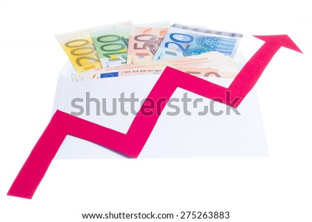 Concept of increase of euro value with red arrow growing over notes in a envelope isolated on white background - stock photo
