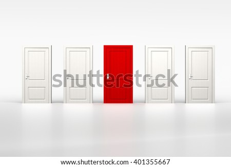 Concept of individuality and opportunity. Red door in row of white shut doors on white background. 3d render - stock photo