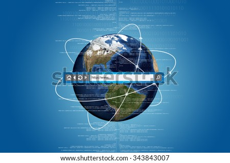 Concept of internet connects information from all over the world. With address bar on top of the picture. - stock photo