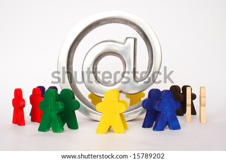Concept of internet for everyone with symbol and figures - stock photo
