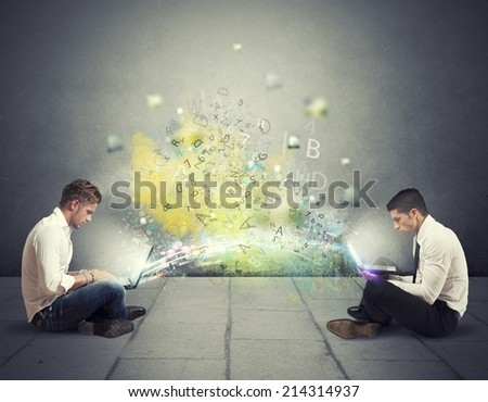 Concept of internet sharing and social network - stock photo
