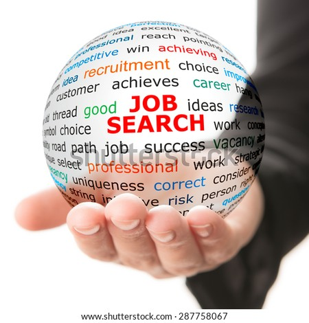 Concept of job searching. Transparent ball with inscription job search in a hand - stock photo