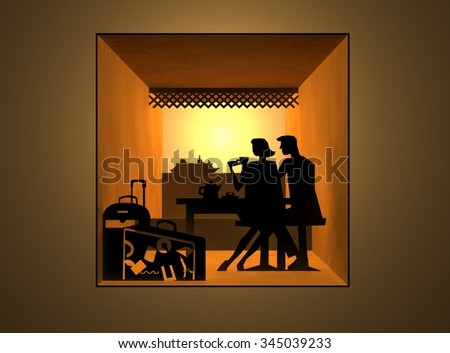 Concept of journey. A couple of tourists, man and woman sitting in cafe on the background of the ocean liner. Luggage In foreground. Silhouettes. Inside cardboard tunnel, tree dimensional model. - stock photo