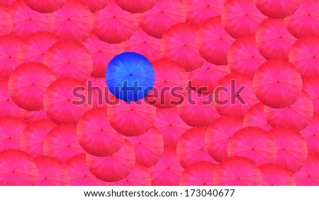 Concept of leader with with many reds and a blue umbrella - stock photo