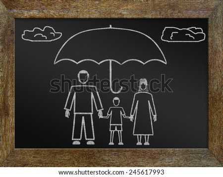 Concept of life insurance. Chalk drawing on the blackboard - stock photo