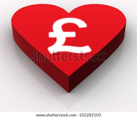 Concept of love for Pounds or money in general. Idea is portrayed by white intensively glowing pound symbol rendered on the top of red heart. Scene isolated on white background with slight reflection. - stock photo