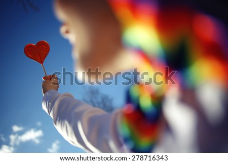 concept of love heart candy girl spring - stock photo