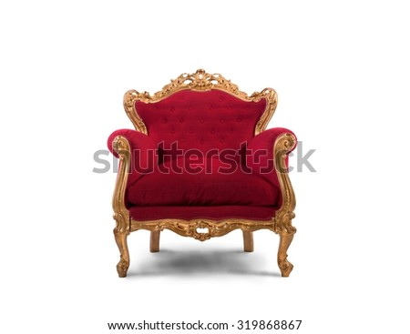 Concept of luxury and success with red velvet and gold armchair - stock photo