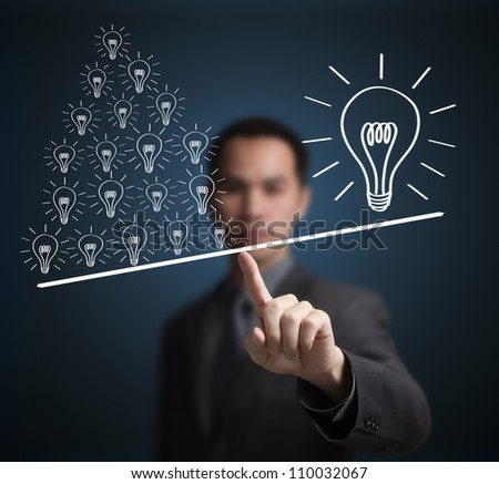 Concept of many small ideas are more important than one big idea . Express by balance weight on business man finger tip. - stock photo