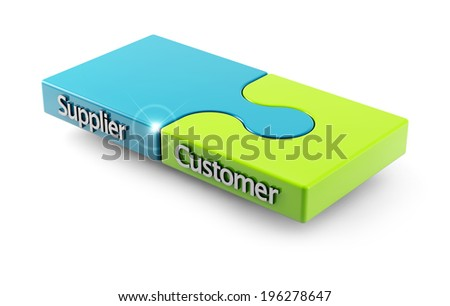 concept of matching between customer and supplier as two pieces of a puzzle - stock photo