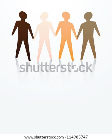 concept of men are equal with different skin color - stock photo