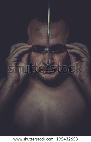 concept of mental disorder, schizophrenia and depression - stock photo