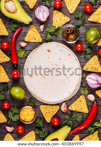 Concept of Mexican food, food background, top view. - stock photo