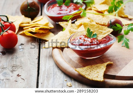 Concept of mexican food with spicy salsa, selective focus - stock photo