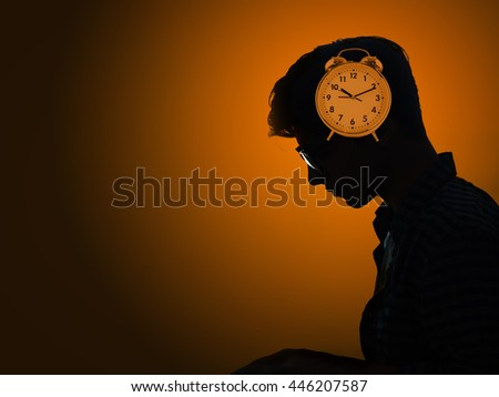Concept of missing deadlines with man and clock - stock photo