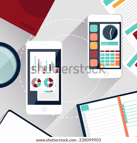 Concept of mobile services and applications for business and finance with smartphone. Raster version - stock photo