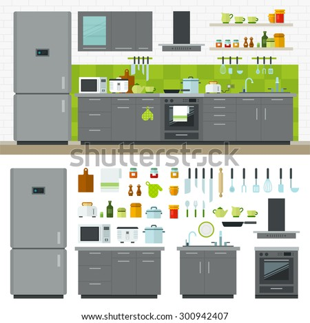 Concept of modern kitchen. Flat horizontal banners with kitchen utensils, electric cooker, refrigerator, kitchen furniture, washing, interior. Cartoon style for web, analytics, graphic design - stock photo