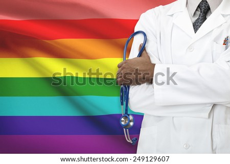 Concept of national healthcare system - LGBT- Lesbian, gay, bisexual and transgender people - stock photo