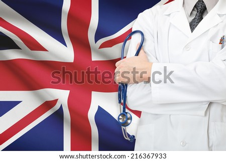 Concept of national healthcare system - United Kingdom - stock photo