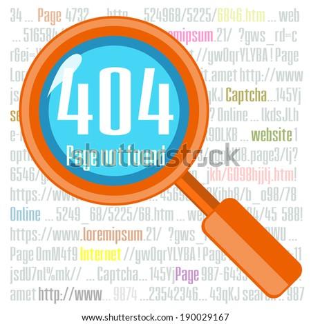 Concept of not found error message with text and lens - stock photo