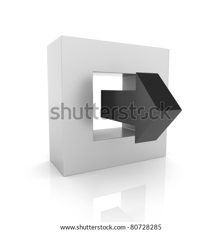 Concept of output connection with frame and arrow(black collection) - stock photo