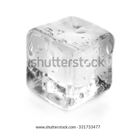 Concept of perfection - ice cube on grey background - stock photo