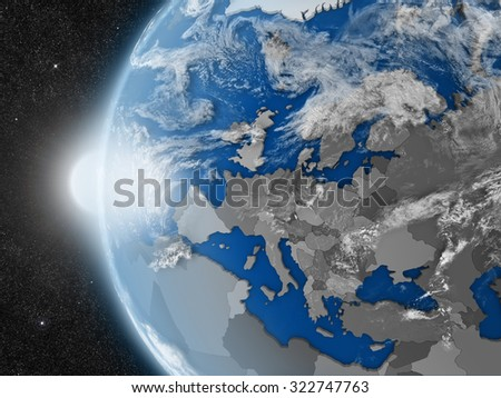 Concept of planet Earth as seen from space but with political borders aimed at European continent - stock photo