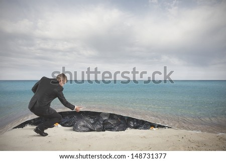 Concept of pollution of the sea - stock photo