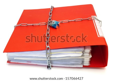 concept of protected documents with chain and file folder - stock photo