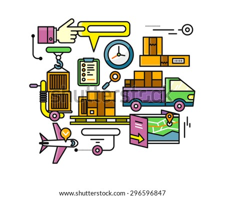 Concept of purchasing, delivery of product via internet. Stroke elements of delivery service. Transportation chain aviation, customs, control, cars. For web site banners brochures. Raster version - stock photo