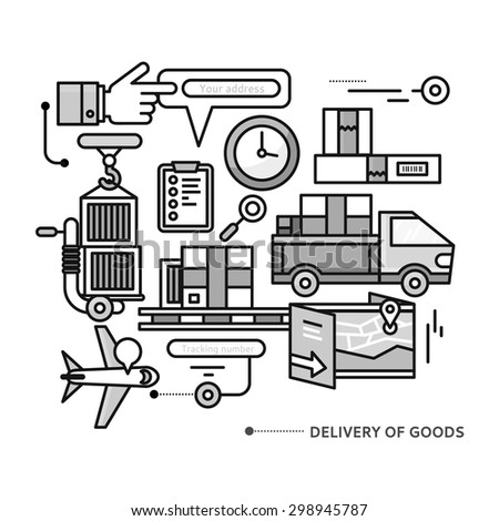 Concept of purchasing, delivery of product via internet.  Thin, lines, outline icons elements of delivery service. Transportation chain aviation, customs, control, cars. Raster version - stock photo