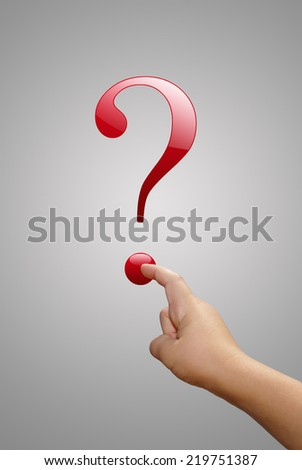 Concept of quiz. Hand with question mark - stock photo