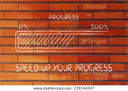 concept of reaching your goal and progressing fast, progress bar metaphor - stock photo