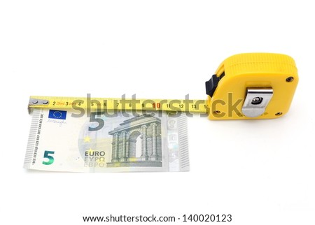 concept of salary with money and meter - stock photo