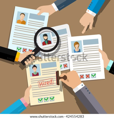 Concept of searching professional staff, analyzing personnel resume, recruitment, human resources management, work of hr. Flat design.  - stock photo