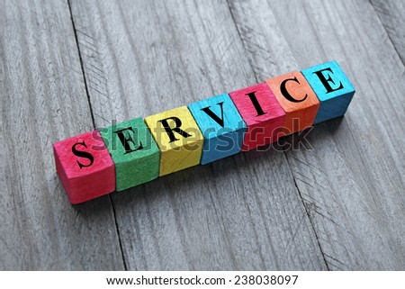 concept of service word on colorful wooden cubes - stock photo
