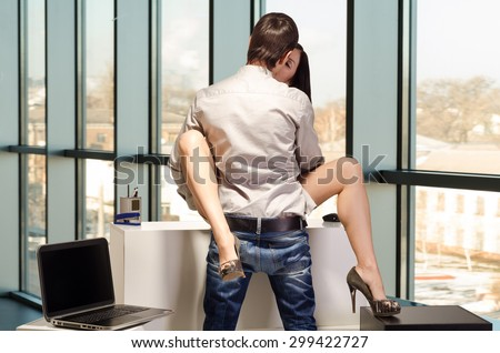 Concept of sexual relations on job - stock photo