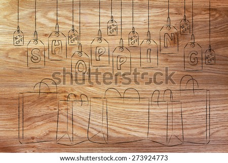 concept of shopping and retail industry: clothes or item price tags with the word Shopping - stock photo