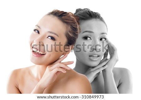 Concept of skin care woman before and after - portrait of the Asian woman face isolated on white background. - stock photo