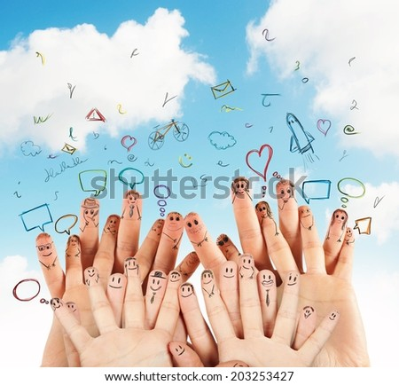 Concept of social network with hand drawn - stock photo