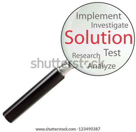 Concept of solution consists of test, analyze, research, implement and investigate - stock photo